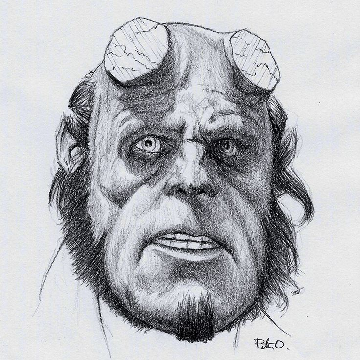 Hellboy (Ron Perlman) - 0.7mm mechanical pencil. #hellboy On the fence about watching the re-boot. Cannot fathom a Hellboy film without Perlman or Selma Blair.