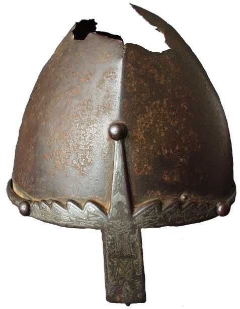 Prague castle, St Vitus treasury. The so-called helmet of St Wenceslas,   10th century helmet and possibly earlier nasal.