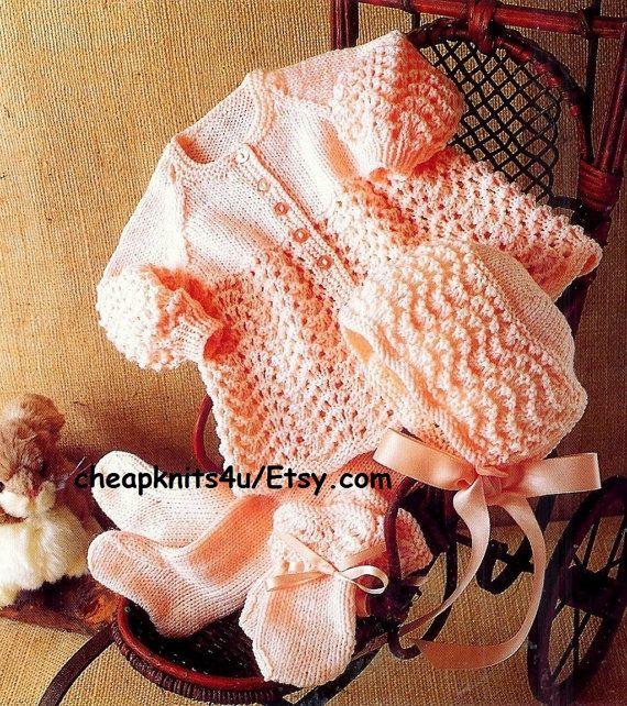 Baby Pram Set - Leggings Coat Bonnet & Mittens in DK 8 ply yarn Sizes 16 - 22 Inches - Pdf of a Vintage Knitting pattern - N058