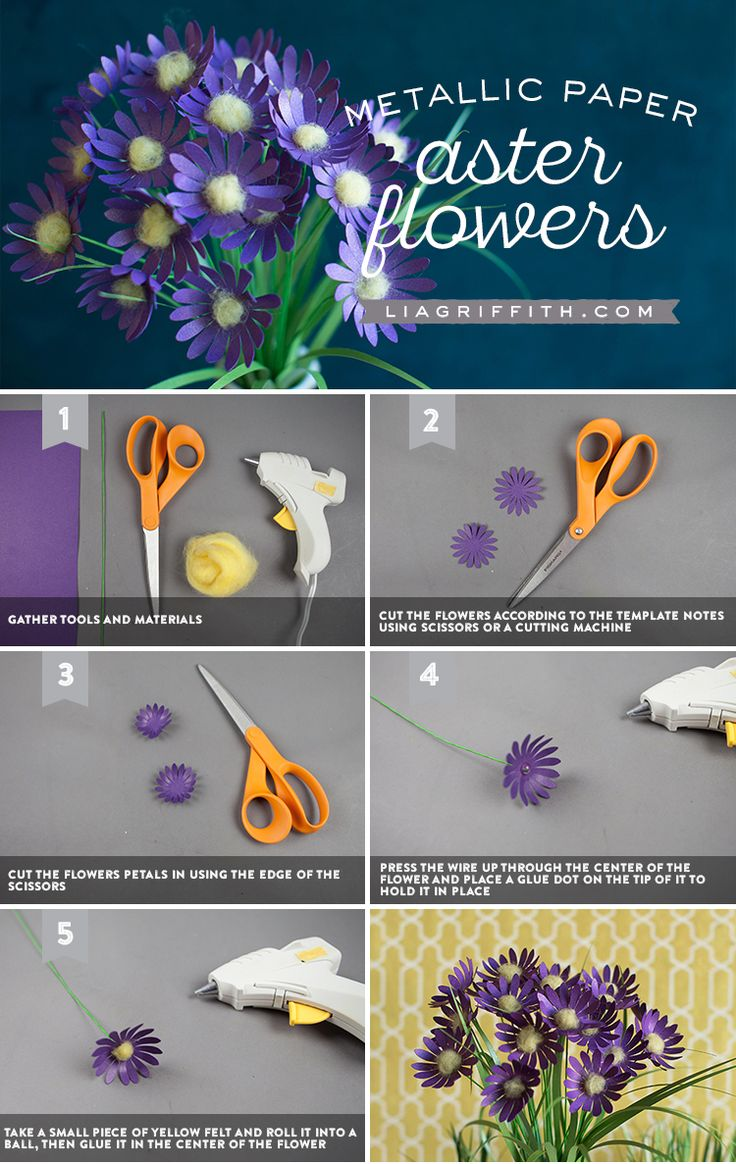 DIY Paper Aster Flowers! Download the pattern and tutorial today! #FallDIY #DIYFall #Cricutmade #Cricutmaker #paperflowers #svgcutfiles