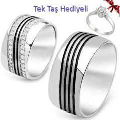 Söz Nişan Yüzüğü Çizgili Gümüş Alyans Çifti (Tektaş Hediyeli)