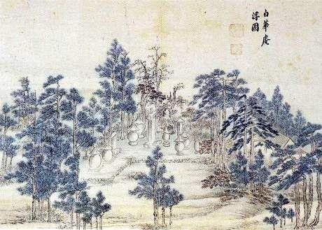 (Korea) 백화암 by Jeong Seon (1676-1759). aka Gyeomjae. ca 18th century CE. ink & colors on paper. 백화암
