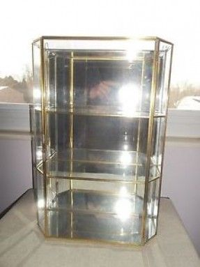 Details about 15½u201d TALL GLASS CURIO CABINET GOLD METAL FRAME 3 .