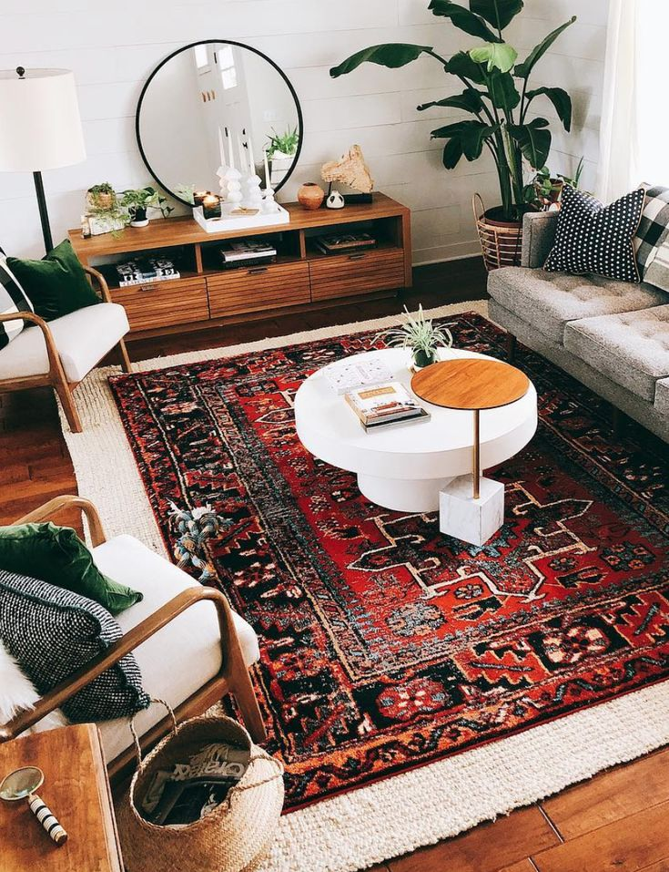 Living room, layered rugs, mid century modern style