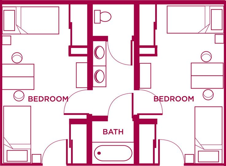 Shared bathroom with bath house floor plans pinterest for Shared bathroom layout