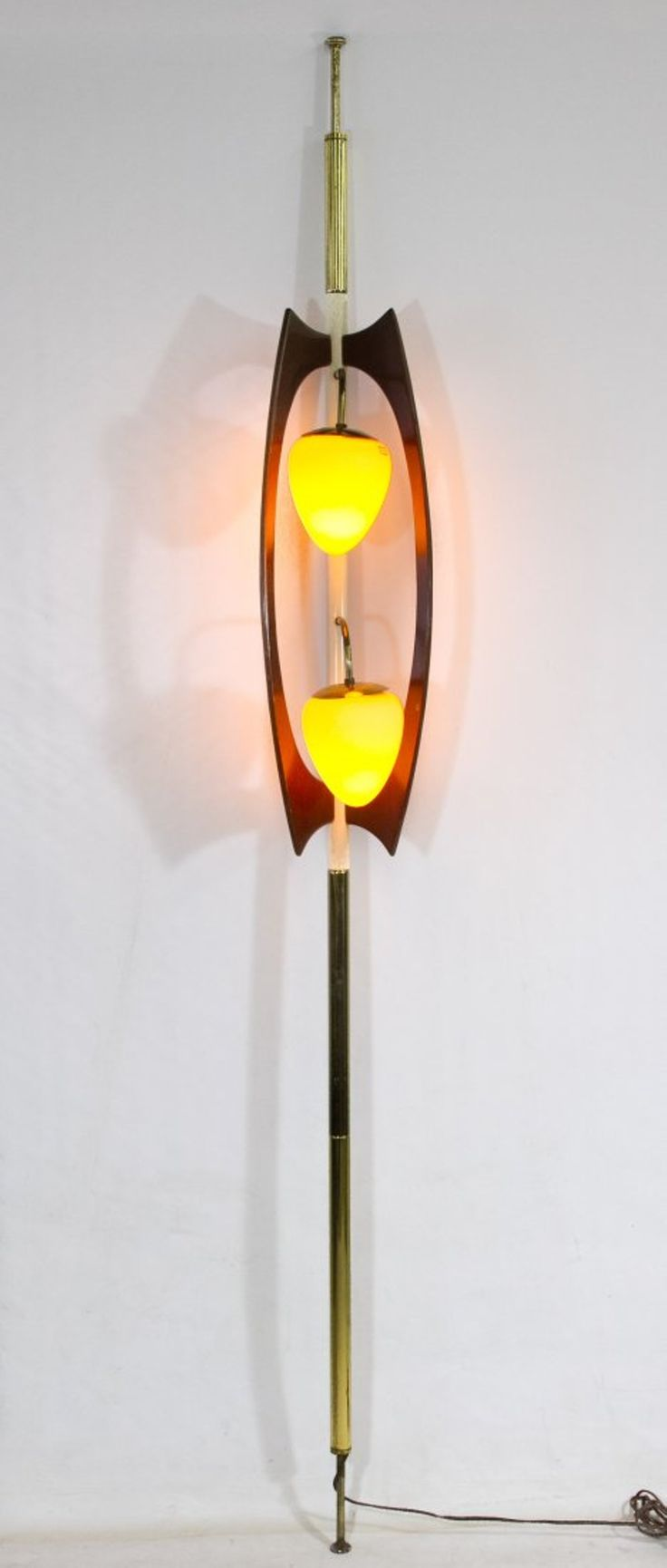 Hourglass mid-century tension pole lamp