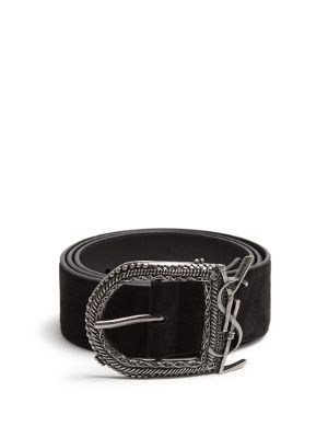 7d917f7e697 Click here to buy Saint Laurent Monogram suede belt at MATCHESFASHION.COM