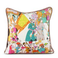 Manuel Canovas Dara print Turquoise oriental pillow asian decor designer decorator cushion