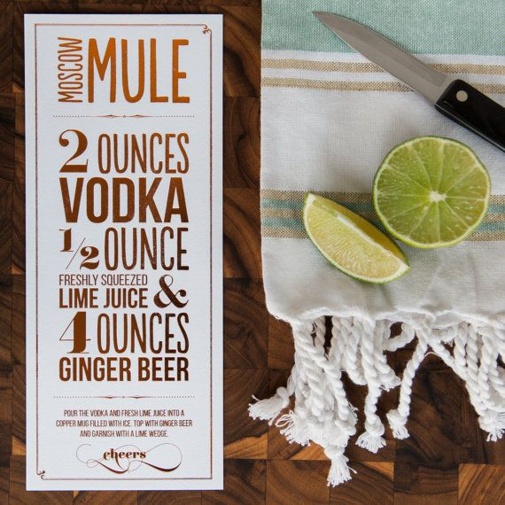Copper Foiled Moscow Mule Recipe Print by DesignsByKatieNoel