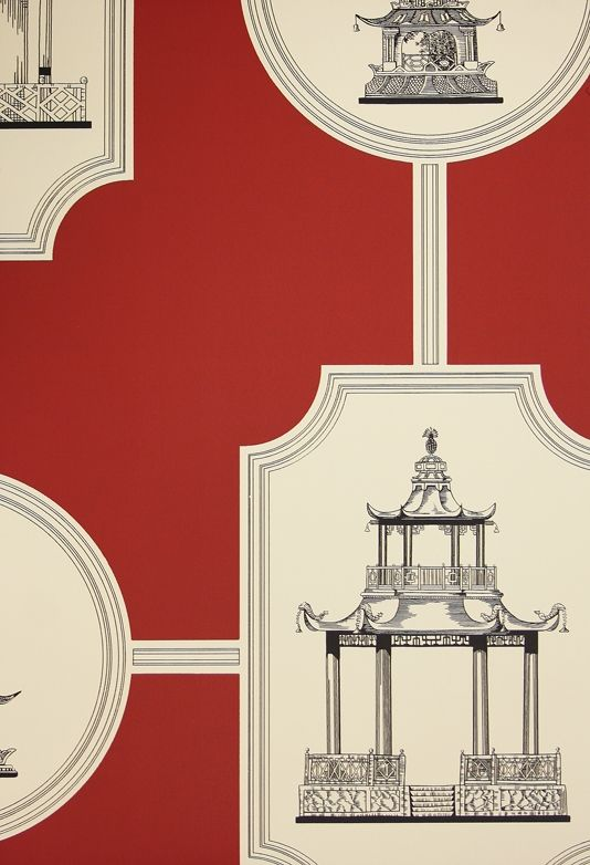Oriental Toile Wallpaper A toile wallpaper featuring black etched style oriental buildings on a red background.