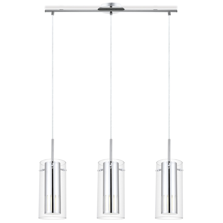 Pinto 3-Light | Chrome base with clear glass fittings.