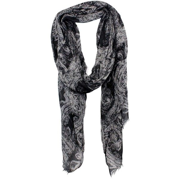 Oversize Paisley Print Scarf ($52) ❤ liked on Polyvore featuring accessories, scarves, oversized shawl, oversized scarves, paisley scarves, paisley shawl and black and white shawl