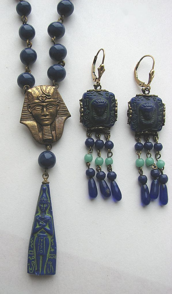 EGYPTIAN REVIVAL Lapis Colored Molded Glass Beads & Earrings!