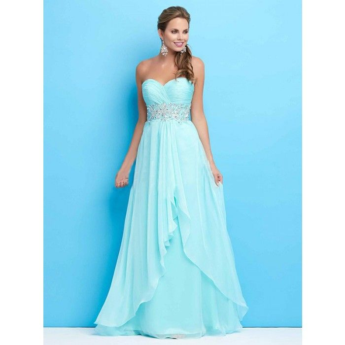 """<span style=""""font-family:Arial, Helvetica, sans-serif;color:#333333;"""" ><strong>Silhouette:</strong>A-line<br/><strong>Neckline:</strong>Sweetheart<br/><strong>Hemline/Train:</strong>Floor-length<br/><strong>Sleeve Length:</strong>Sleeveless<br/><strong>Embellishment:</strong>Ruffles,Rhinestone<br/><strong>Back Details:</strong>Zipper<br/><strong>Fabric:</strong>Chiffon<br/><strong>Color & Style representation may vary by monitor</strong><br><font color=""""red"""">Color and size combinations a..."""