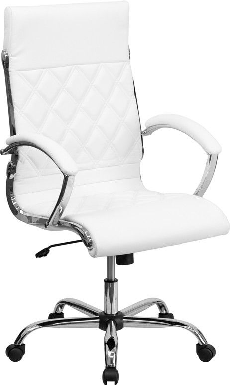 Model : Designer White Leather Model GO-1297H-HIGH-BK-GG Brand Flash Furniture Color White Cover LeatherSoft (Leather and PU) Chair Height 43 to 46.5 inches (adjustable) Armrests Fixed (?) Mechanism C