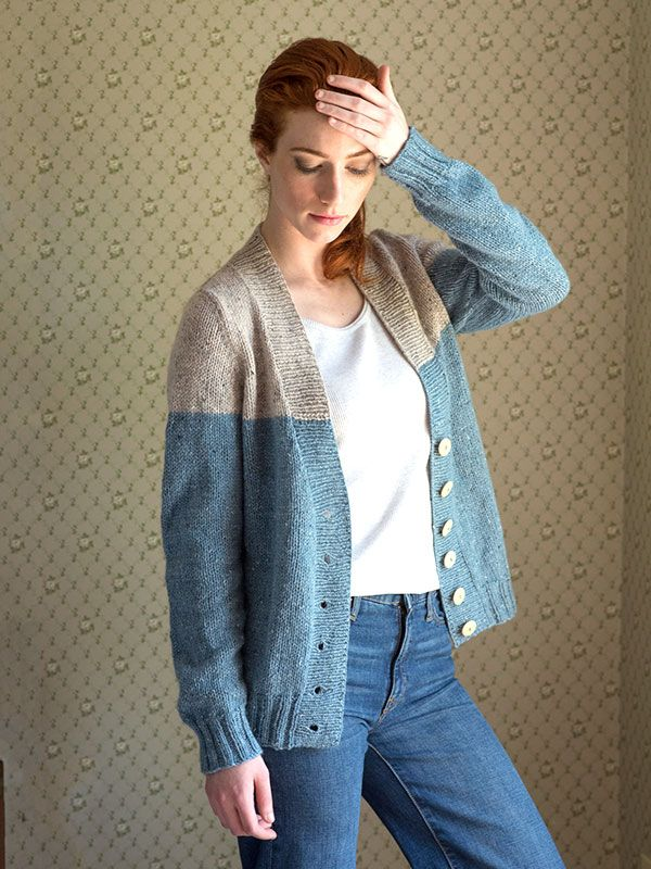 21c3759388af Estuary is is a V-neck cardigan knit in pieces from the bottom up with two  colors of Berroco Tuscan Tweed. Place a darker shade on the bottom for a  more ...