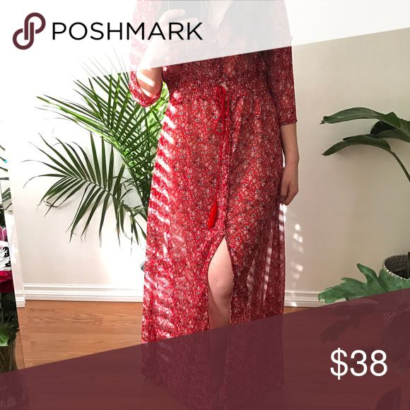 """Red floral sheer dress Coming soon. Please see """"about this closet"""" for size referencing. Not by reformation. Brand unknown. Reformation Dresses"""