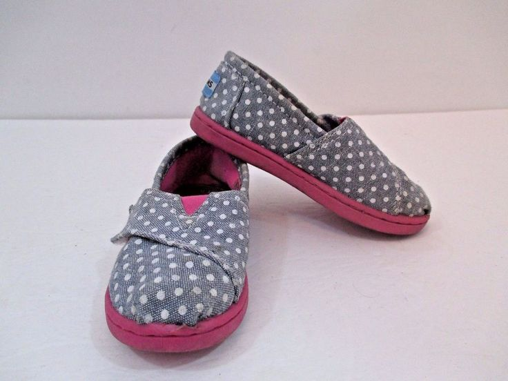 Toms Tiny Toms Girls Canvas Gray w/White Polka Dots Pink Bottom Slip-On US T8 #Toms #CasualShoes