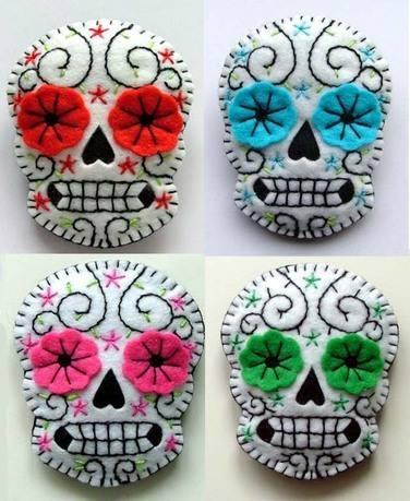 "Sugar Skull Felt brooches.  Dia de los Muertos! Oct 26-27 & Nov 2-3  ""Day of the Dead"" at the Kansas Children's Discovery Center.     www.kansasdiscovery.org"