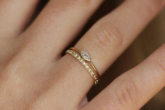Marquise Diamond Engagement Ring Diamond Gold Ring by artemer