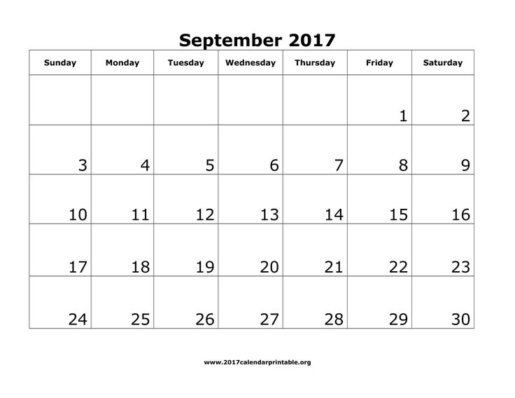 Download September 2017 Calendar Printable with federal holidays and week number as MS Word, PDF and JPG in US letter paper format.