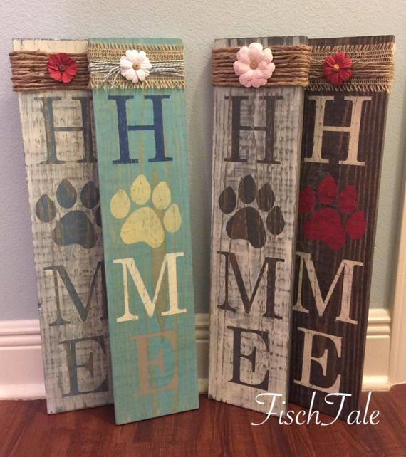Rustic Wood Vertical Sign Pet Lover Porch Sign Animal Lovers Porch Welcome with Paw Print Porch Sign