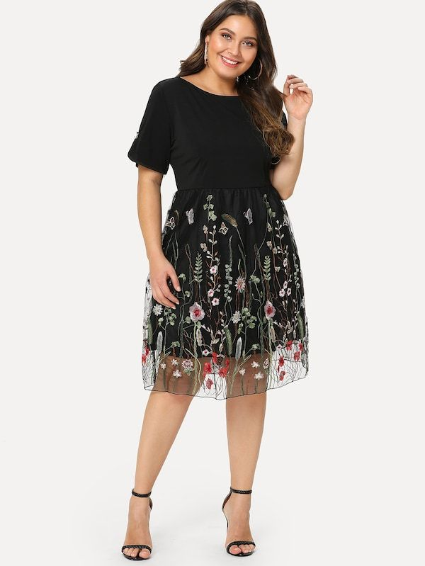d2a223932359c Vestido panel con malla con bordado floral de talla grande-Spanish  SheIn(Sheinside)