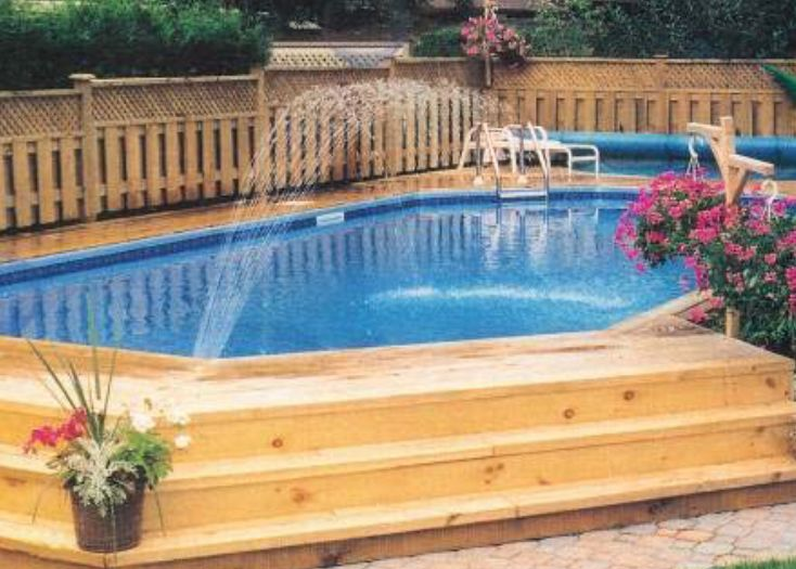 Affordable Pool Landscaping Ideas best 25+ semi inground pool deck ideas only on pinterest