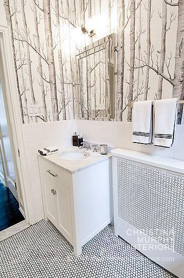 White penny tile with black grout, white subway tile. Interior ideas from Christina Murphy Interiors
