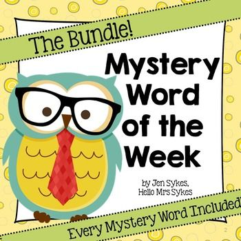 """Each Vocabulary Word of the Week has daily clue posters and the """"answer"""" poster for Fridays. Daily clues include synonyms, antonyms, using the word in a sentence, and describing the number of letters/beginning letter. Create an interactive bulletin board, post the Mystery Word of the Week as a challenge, incorporate the clue in your morning meeting, or include this in your Work on Words during Daily 5."""