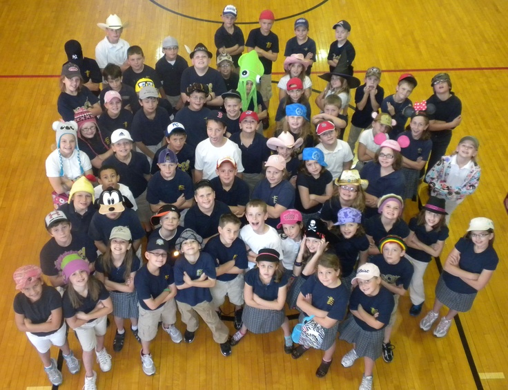 "Another idea for celebrating Catholic Schools Week is a daily theme - this is ""Hats On Day"" at St. Benedict School in Atchison, Kansas. Learn more about St. Benedict at www.cefks.org."