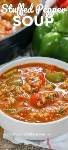 Stuffed Pepper Soup is easy to make with ground beef, sausage, green