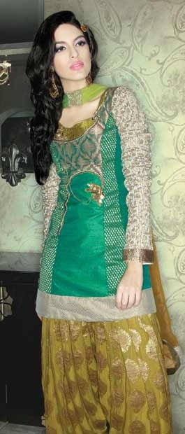 Turquoise Green and Light Olive #Green Raw #Silk #Salwar #kameez