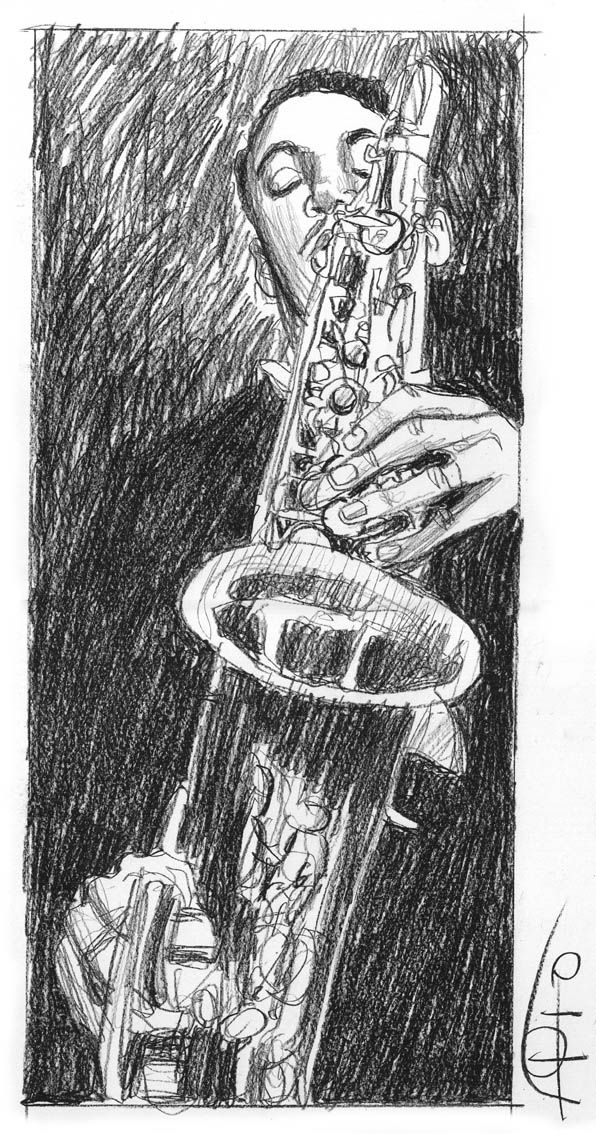 Trazos saxofonista, lápiz sobre papel