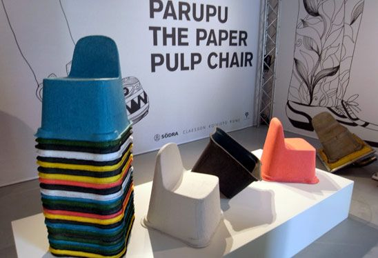 parupu paper pulp chair I stackable I low price I compostable I mixture of pulp and a natural bioplastic I light I durable I water-proof