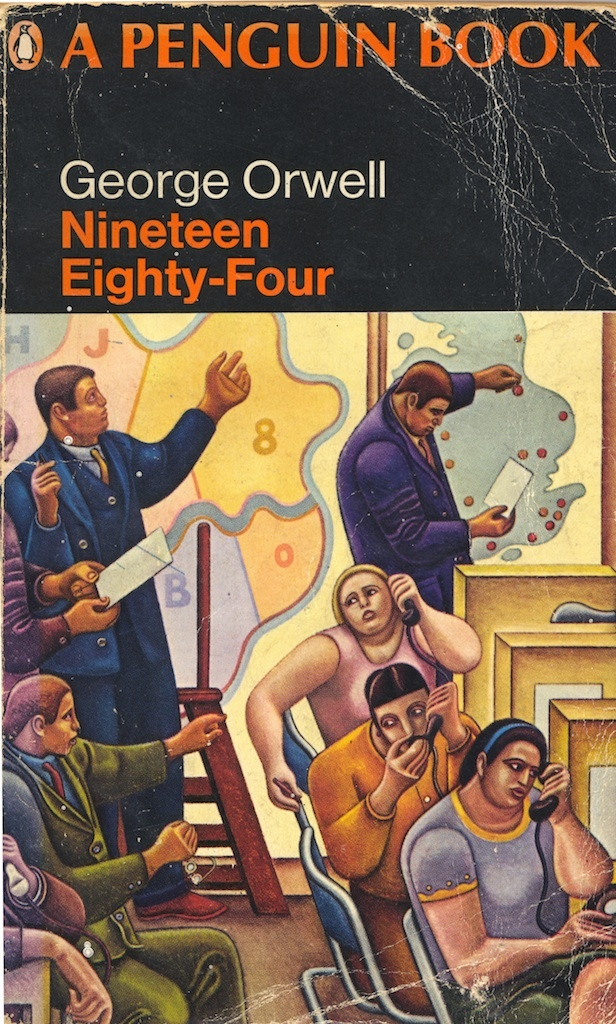 1968 Penguin edition of Orwell's 1984. There were three variations on this cover in the late 1960s. The painting is 'The Control Room, Civil Defence Headquarters' by William Roberts, which was painted in 1941. It is now in Salford Museum and Art Gallery's collection and will be on display along with his two preparitory works in my exhibition at the gallery, called 1984 Looks Like This. 17 March to 1 July 2012.