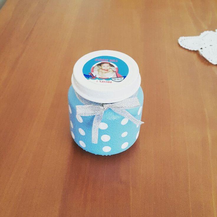 Bebek mama kavonozundan misafirlere  1 yaş doğum günü hediyesi