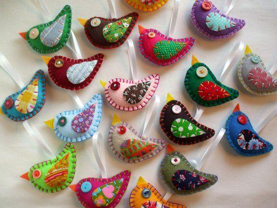 Felt Bird Ornaments Wholesale Lot Of 8 Vintage Fabric Birds Felt Birds Ornaments Felt Ornaments Felt Birds