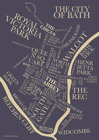 The Bath Typographic Map by beautifulbath. Bath, UK. One of my favourite places ❤️