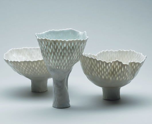 Cornelia Trösch. porcelain vessels with translucent marks, tall feet