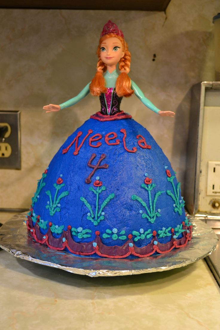 Disney Frozen birthday cake, using Wilton Wonder Mold + one 9 in round cake.