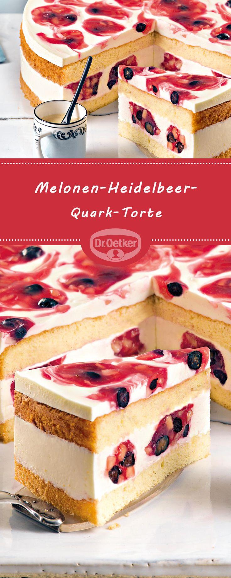 Bolo de quark de melão e mirtilo