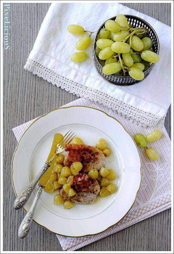 filetti di maiale uva pancetta