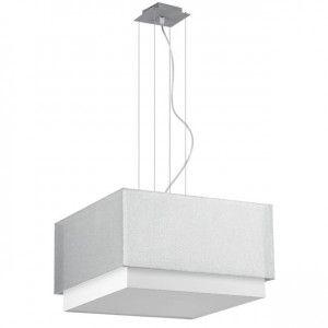 Lampa wisząca Lastra kwadratowa podwójny abażur biało srebrny do salonu sypialni jadalni kuchni