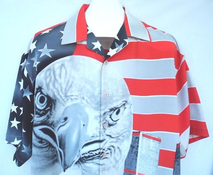 USA American Flag Eagle Shirt 9 11 Memorial Day Twin Towers New York City Large #MillionGuy #ButtonFront
