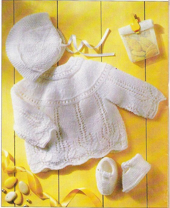 Layette: brassière, bonnet et chaussons: rectificatif