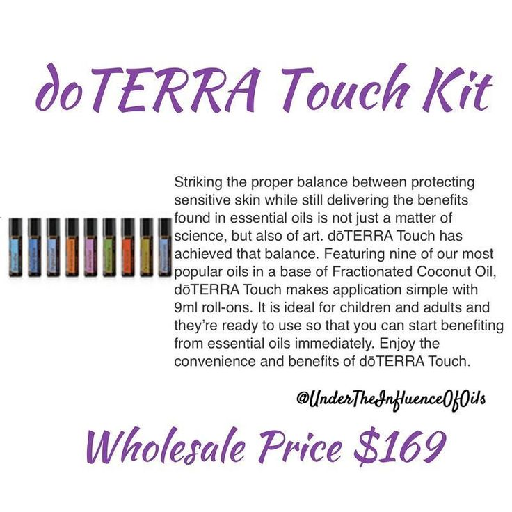 The dōTERRA Touch Kit with nine of the most popular oils in a base of Fractionated Coconut Oil the doTERRA Touch Kit combines the best benefits found in essential oils with the goal of protecting sensitive skin. Apply to touch points such as the back of t