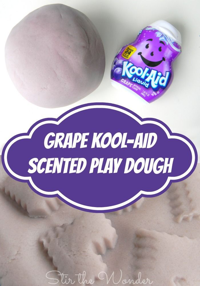 Kool-Aid is a fun way to dye play dough and also make it scented! For this months sensory dough we made Grape Kool-Aid Scented Play Dough and played with heart shaped cookie cutters and molds! | 12 Months of Sensory Doughs at Stir the Wonder