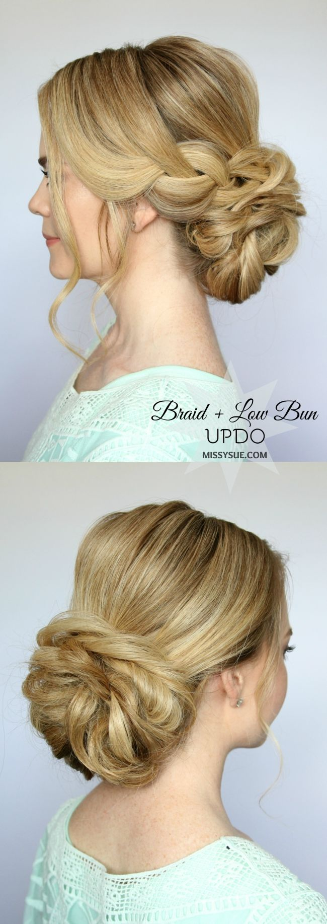 Braid and Low Bun Updo