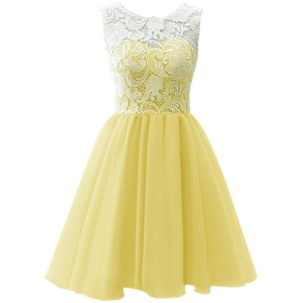 Dresstells Short Tulle Prom Dress Bridesmaid Homecoming Gown with Lace (£38) ❤ liked on Polyvore featuring dresses, cocktail dresses, yellow, short prom dresses, lace dress, yellow prom dresses, lace prom dresses and homecoming dresses
